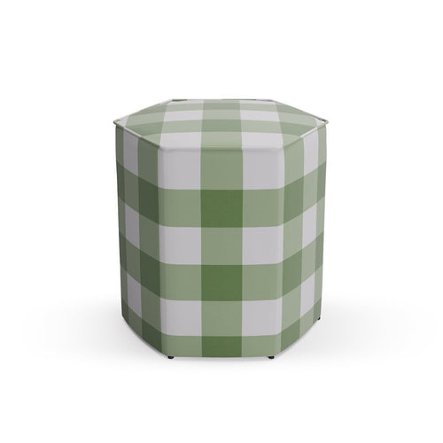 Hexagonal Ottoman -  Mint Check