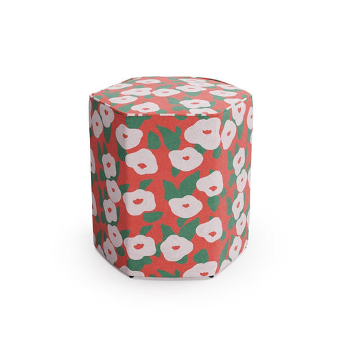 Hexagonal Ottoman -  Red Belle Du Jour By Clare