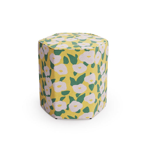 Hexagonal Ottoman -  Yellow Belle Du Jour By Clare
