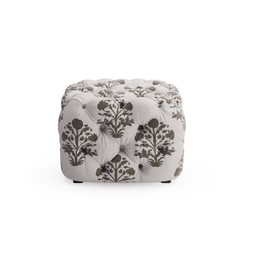 Tufted Ottoman -  Garden In Ink By The Everygirl