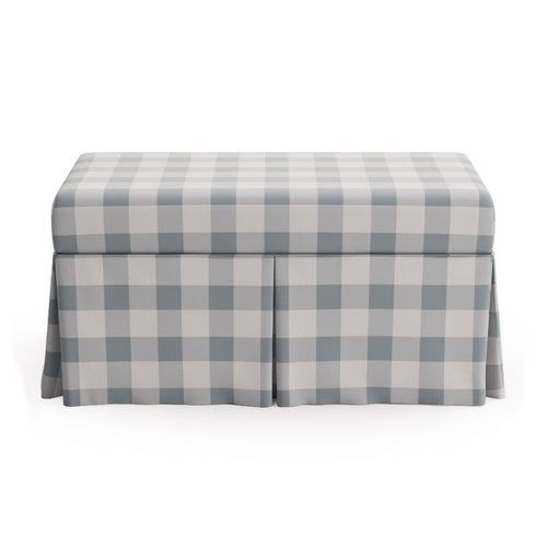 Skirted Storage Bench -  Check In Blue By Maisonette