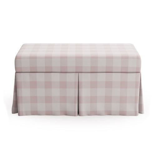 Skirted Storage Bench -  Check In Pink By Maisonette