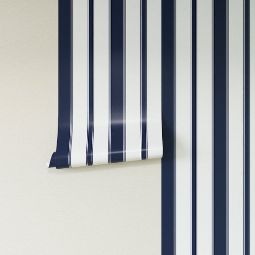 Removable Wallpaper -  Navy Clarence Stripe Wallpaper