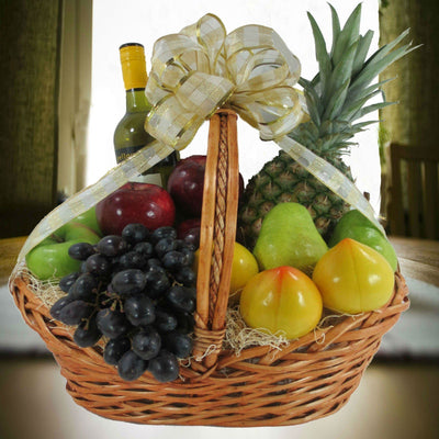 Wine & Fruit Kosher Gift Basket, Wine Optional