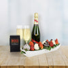 Champagne & Deluxe Chocolate Dipped Strawberries Boat, gourmet gift baskets, champagne gift baskets, gift baskets