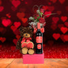 Wine & Roses Valentine's Day Basket, wine gift baskets, gourmet gift baskets, Valentine's Day gifts, gift baskets, romance
