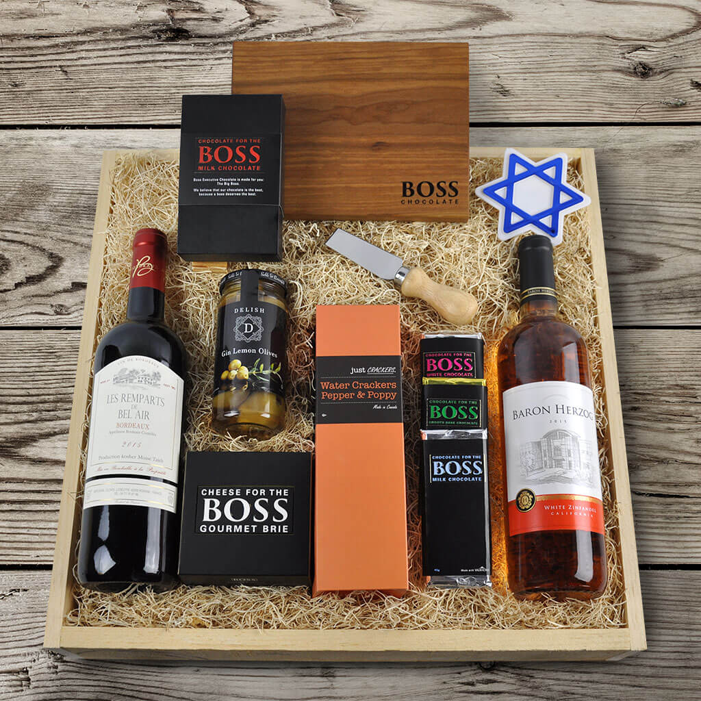 Featured Kosher Wine Gift Baskets · The Wine and Treats Hanukkah Gift Crate