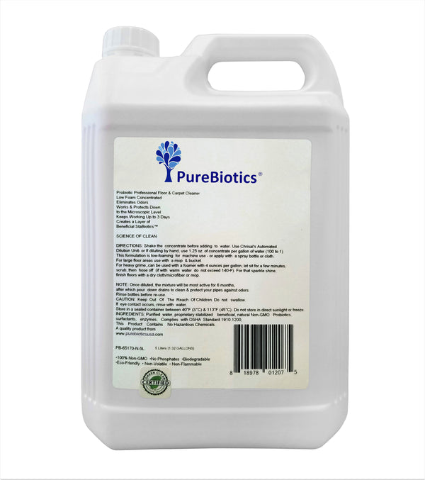 Probiotic Professional Floor & Carpet Cleaner - Scent-Free - 5 Liters (1.32 G) - (Low Foam & Concentrated)