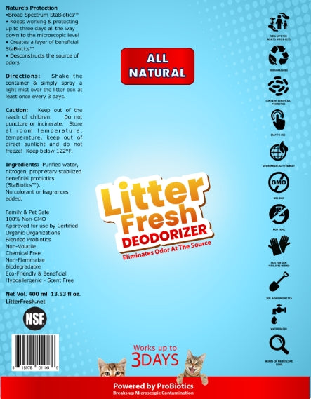 Litter Fresh Deodorizer ProBiotic Spray (for Cats & Kittens) - 400ml (13.53 fl oz)