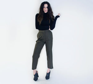 Vintage High Waist Cropped Military Pant