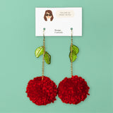 Cherry Pom Statement Earrings