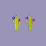 Cactus Pom Pom Statement Earrings