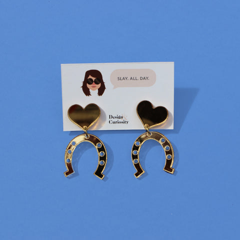 Gold Lucky Horseshoe Earrings