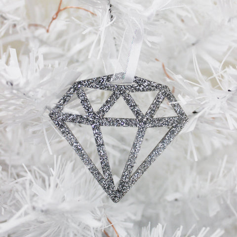 Silver Glitter Gem Ornament