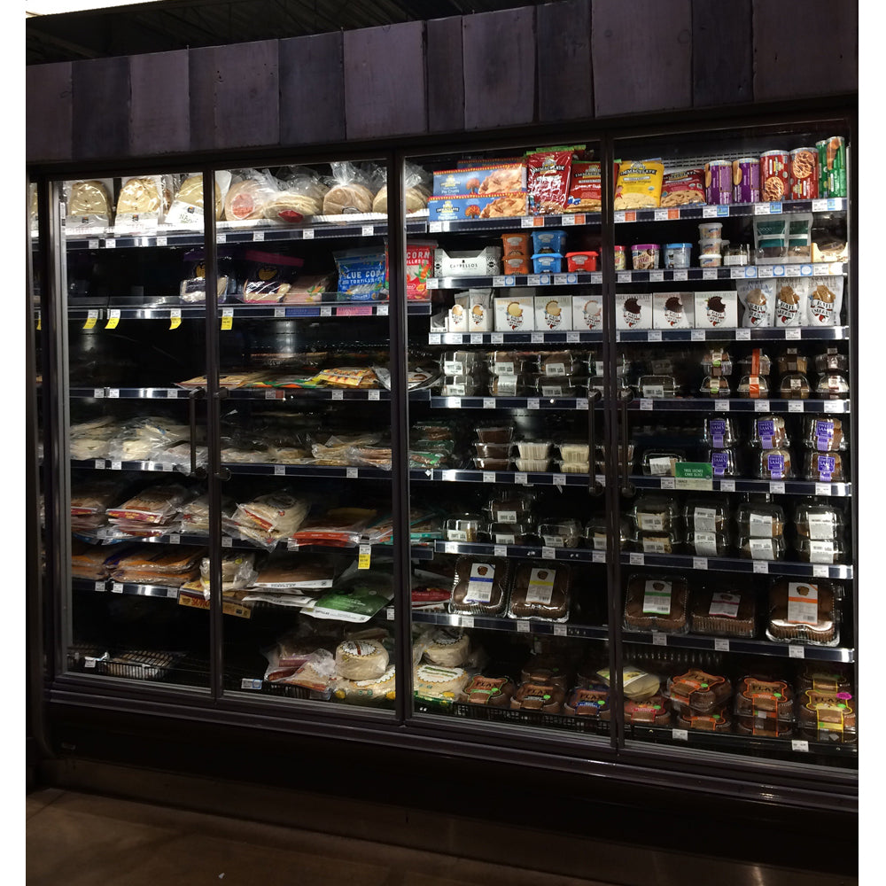 Glass refrigeration doors installed by Remis America similar at Whole Foods Market to Anthony Glass Door system