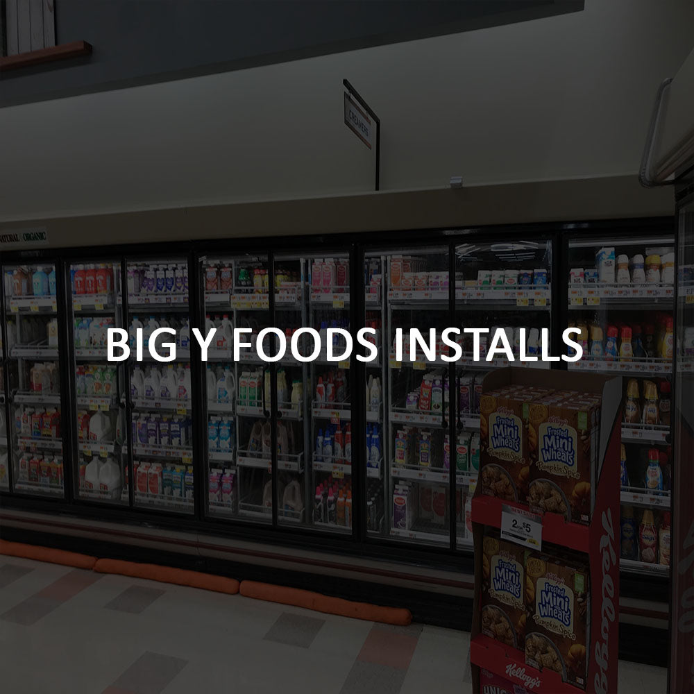 Remis America Glass Door installation at Big Y Foods similar to Anthony glass door system