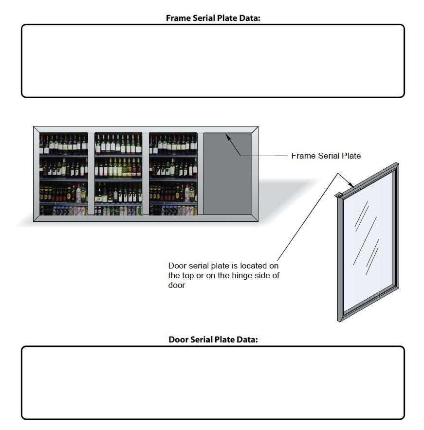 Serial Plates Remis America Glass Display Doors Installation and Service Manual