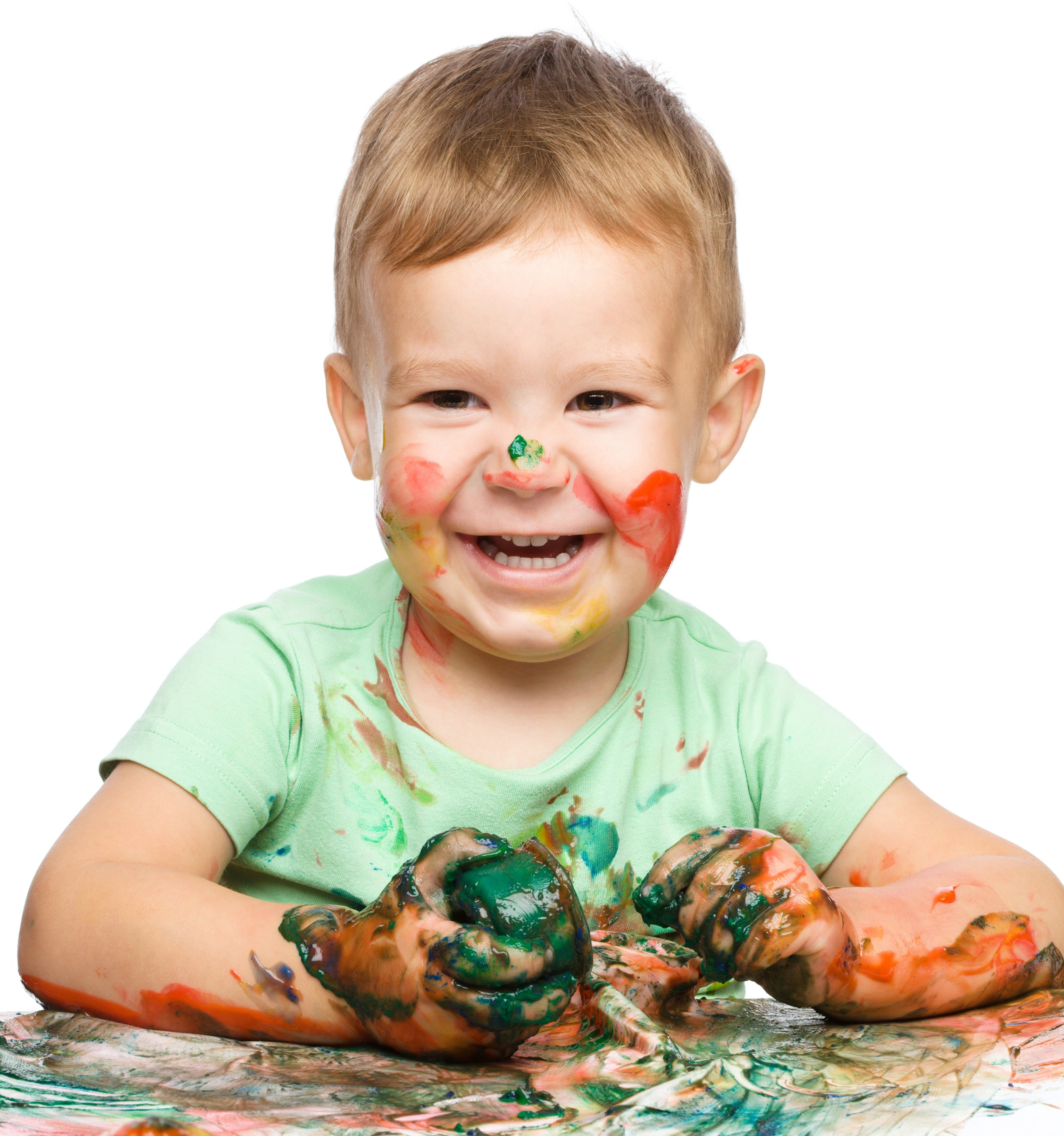 kid covered in paint - small