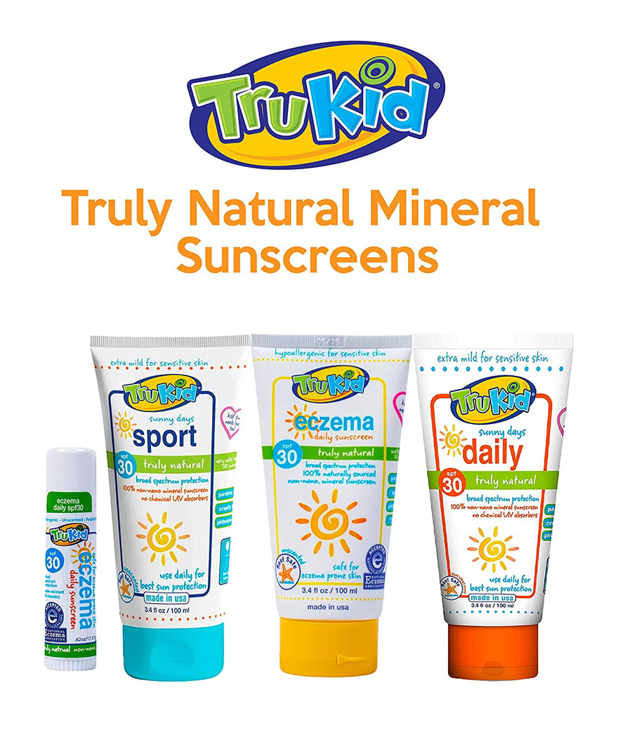 Trukid Eczema Daily Unscented SPF 30+ Natural Sunscreen - Reef Safe, Mineral Based, Safe for Face and Body - 3.4 oz