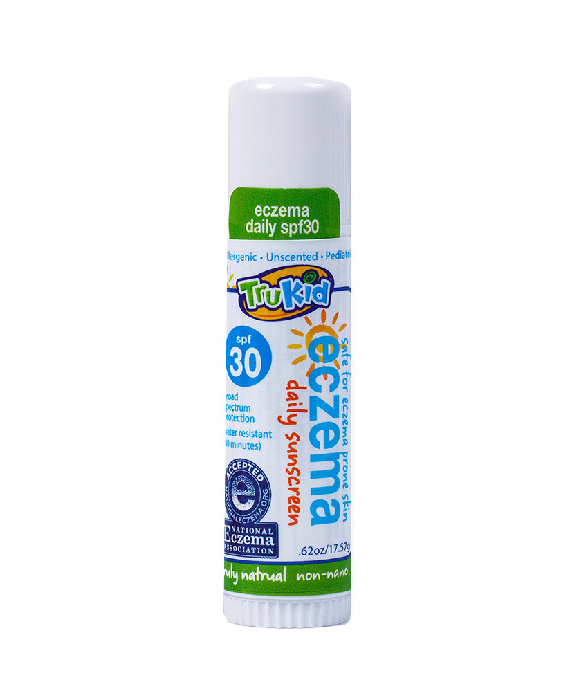 Trukid Eczema Daily Unscented SPF 30+ Face and Body Stick - Mineral Based - Safe for Face and Body - 0.62 oz.