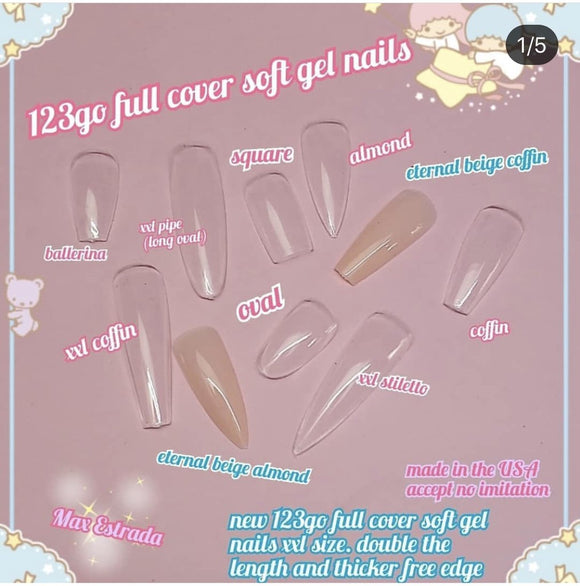 1-2-3 Go! - Soft Gel Full Cover Nail Tips