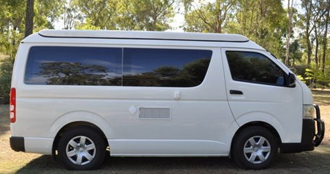Pop Top Roof Conversion - Side View - Roof Closed Toyota Hiace LWB Post 05 - Supply & Fit - DIY RV Solutions