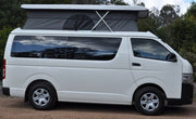 Pop Top Roof Conversion - Toyota Hiace LWB Post 05 - Side View - Roof Open -Supply & Fit - DIY RV Solutions