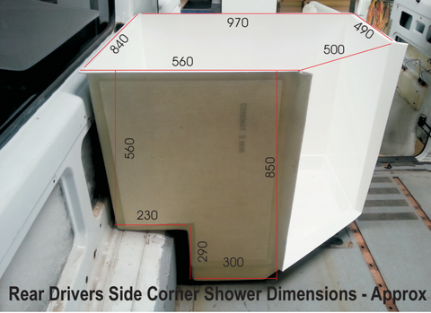 Motorhome Fibreglass Shower - Rear Corner Cubicle With Dimensions - DIY RV Solutions