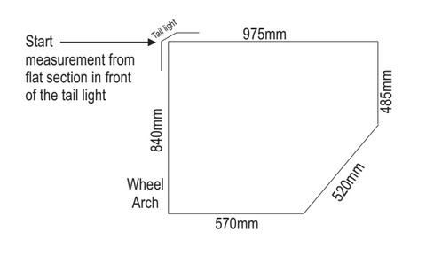 Motorhome Fibreglass Shower - Rear Corner Cubicle Dimensions Drawn Plan View - DIY RV Solutions
