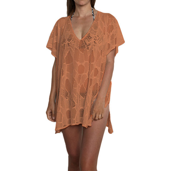 Cover-up beach dress in soft orange