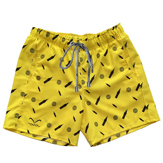 Bright yellow short swimwear trunks