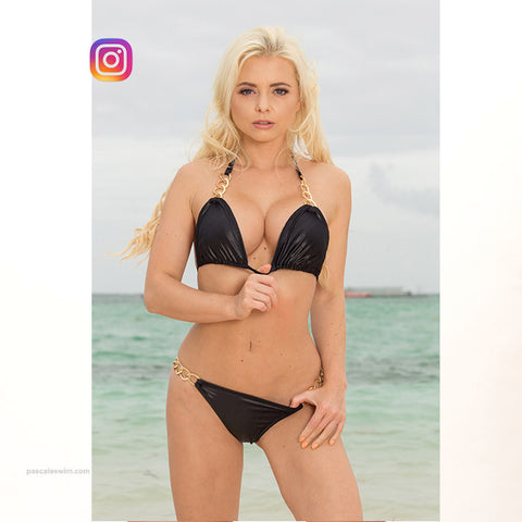 black bikini with metallic side connectors