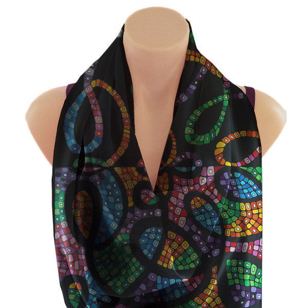 Colorful black scarf, art by Eileen Tichauer