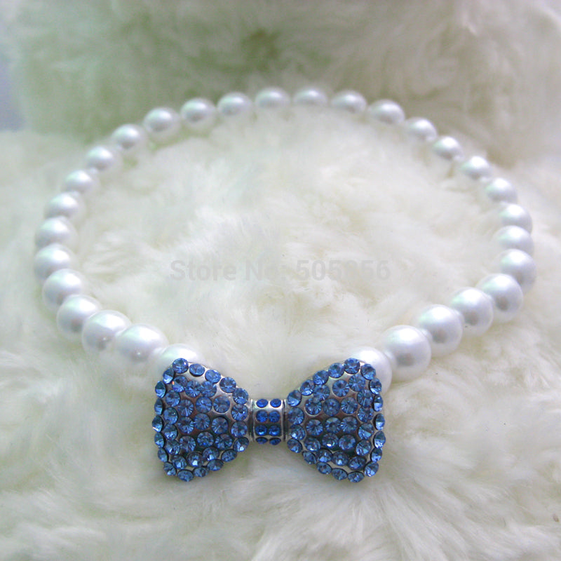 Pearl and Diamante Bow Necklace