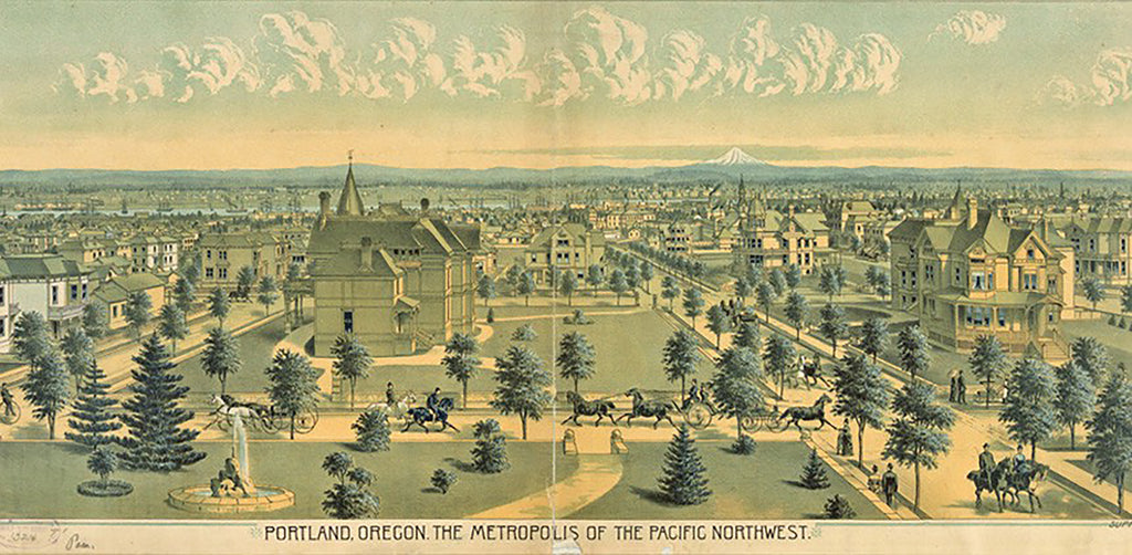 Historic drawing of Slabtown Portland