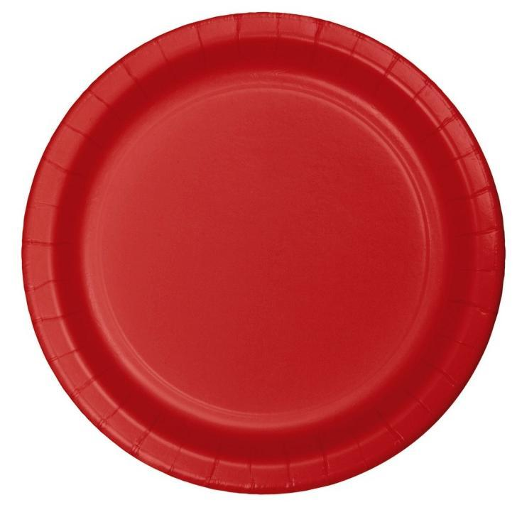Plato Grande Color Rojo - 24 pzas Platos Creative Converting