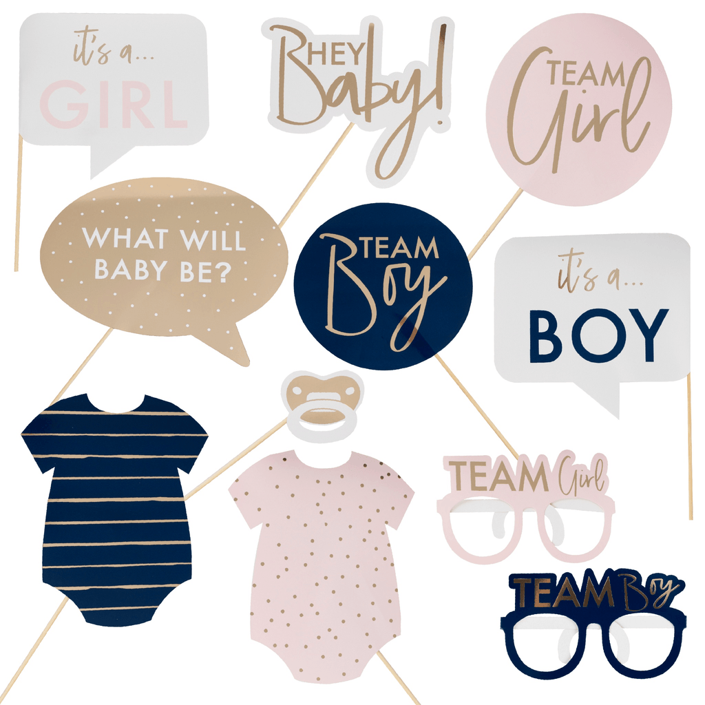 Photo Booth Props Gender Reveal para Personalizar - 10 pzas Disfraces Ginger Ray