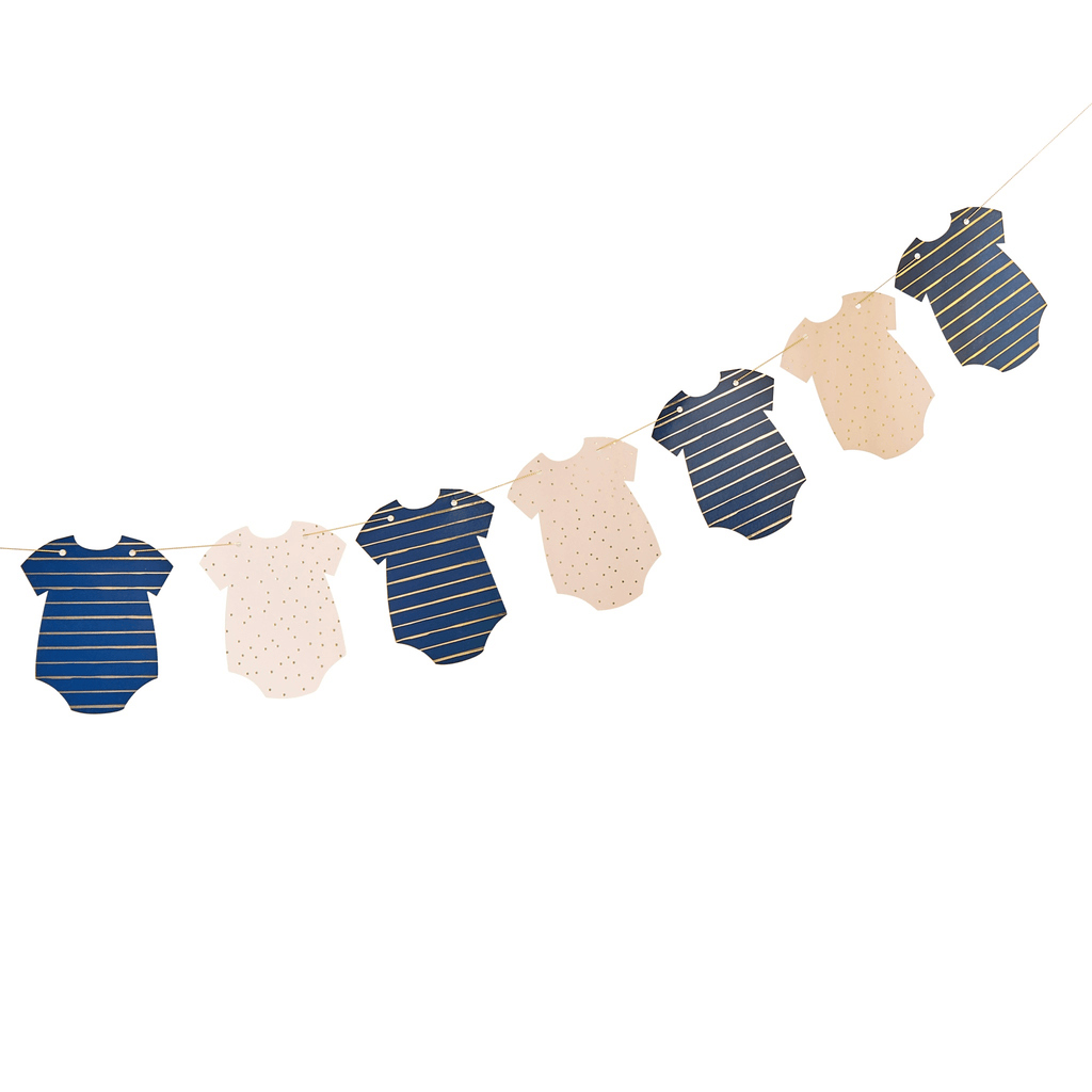 Guirnalda Gender Reveal - Gold Foiled Pink & Navy Baby Grow Bunting Guirnaldas Ginger Ray