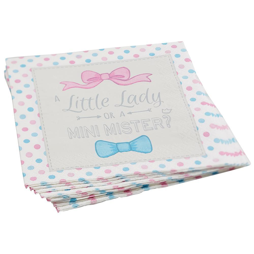 Servilleta Grande Little Lady Mini Mister - 20 pzas Servilletas Ginger Ray