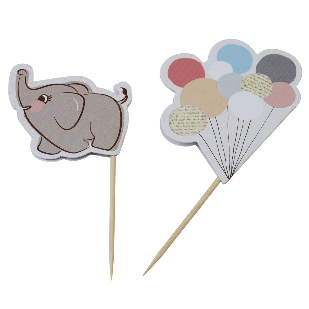 Toppers Elefantes y Globos para Cupcakes - 10 pzas Toppers Ginger Ray