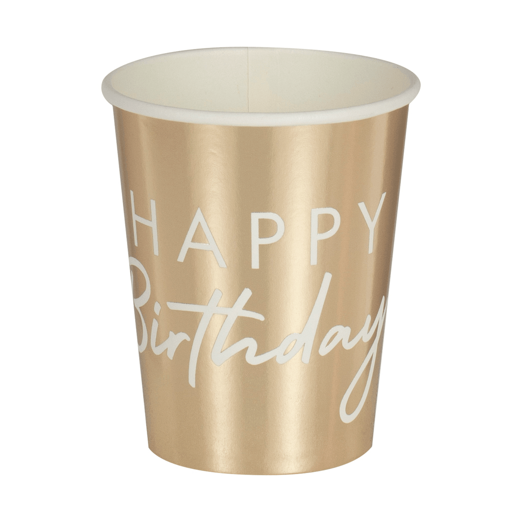 Vaso Happy Birthday en Foil Dorado - 8 pzas.