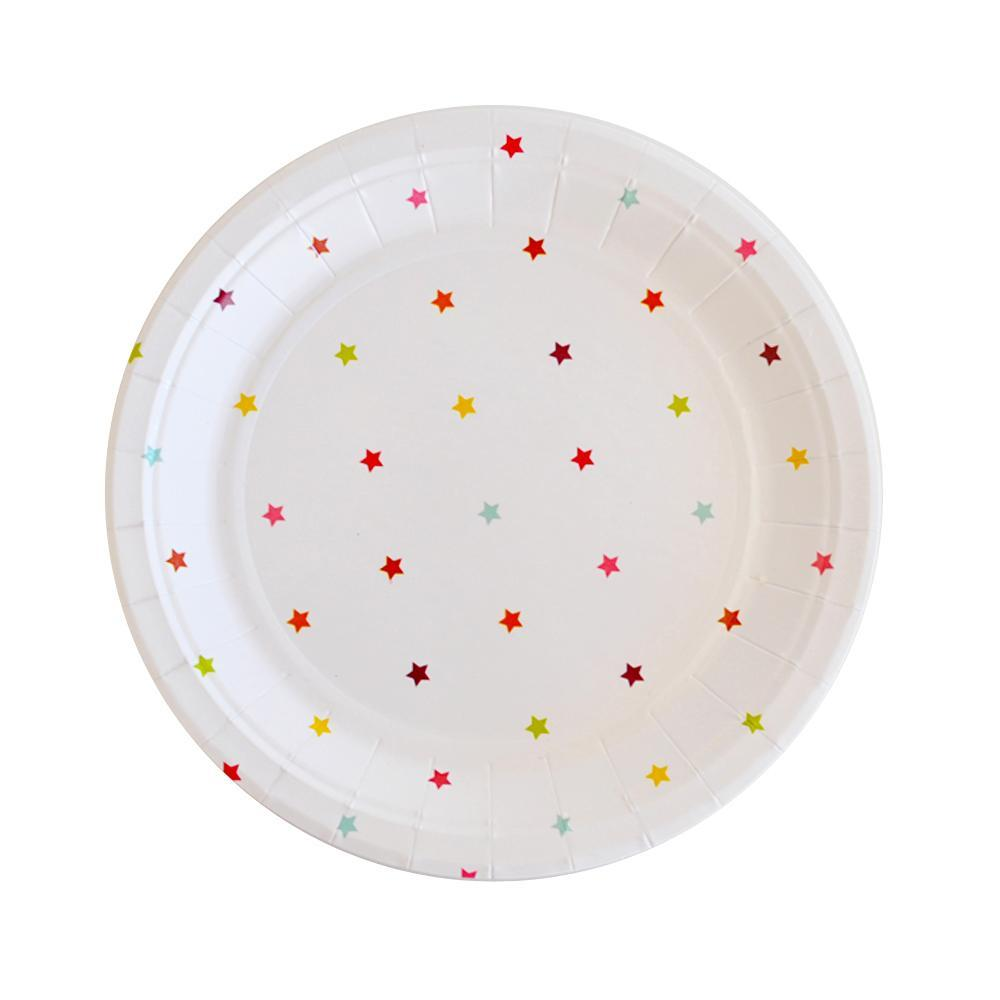 Plato de Postre Rainbow Star Multicolor - 10 pzas Platos Illume