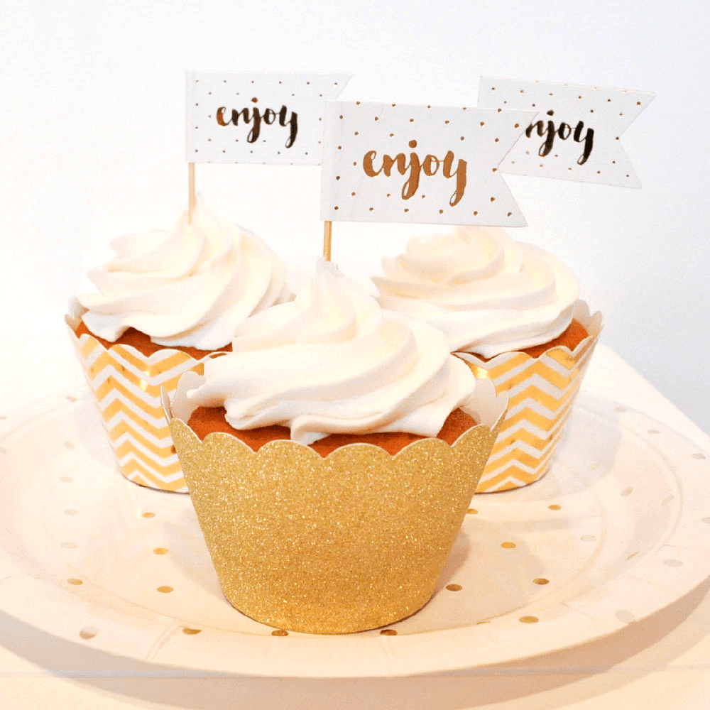 Cupcake Topper Enjoy en Dorado - 12 pzas Toppers Illume