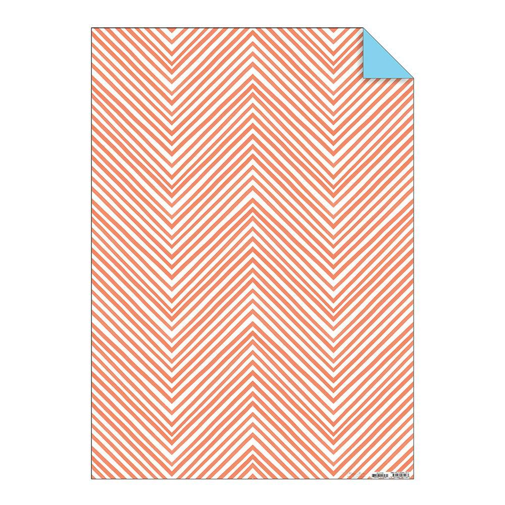 Papel de Regalo Chevron Color Coral Neón - 1 pza.