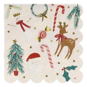 Festive Motif Small Napkins - 16 pc.