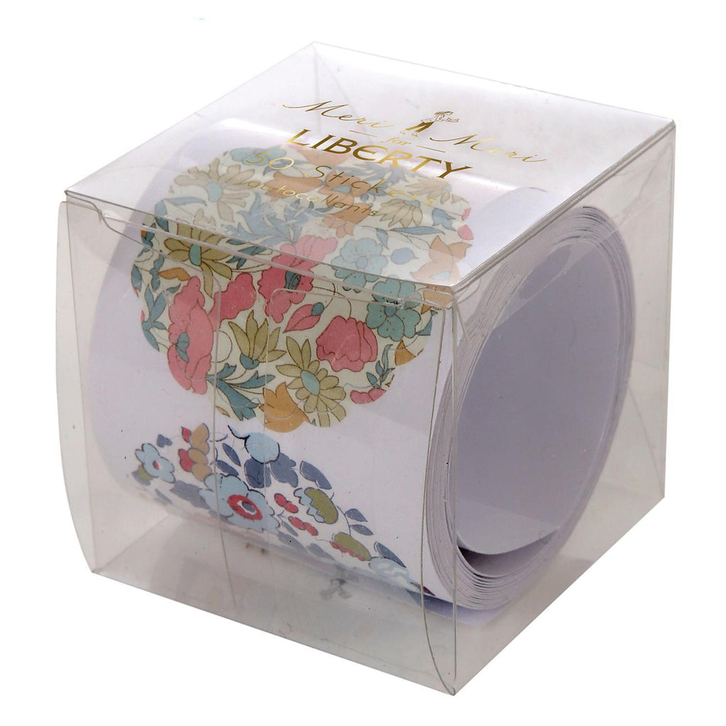 Rollo de 50 Stickers Liberty con Flores - 1 pza.
