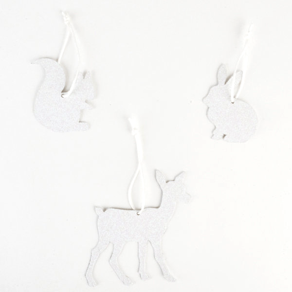 Adornos en Forma de Animalitos Blancos con Brillantina - 3 pzas Accesorios My Little Day