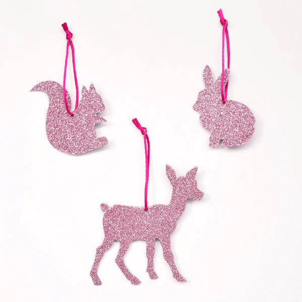 Adornos en Forma de Animalitos Rosados con Brillantina - 3 pzas Accesorios My Little Day