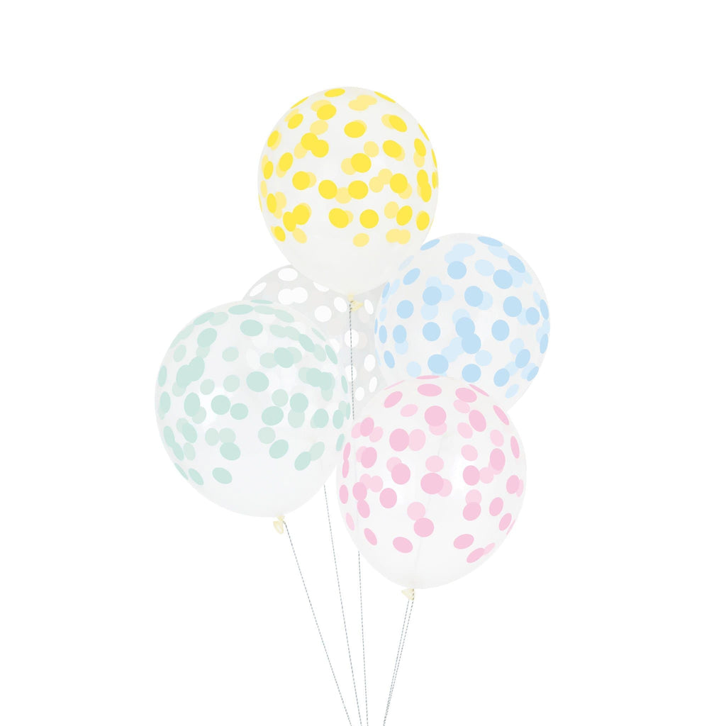"Globo Latex 11"" Impresos con Puntos de Confetti Multicolor Pastel - 5 pzas Globos My Little Day"