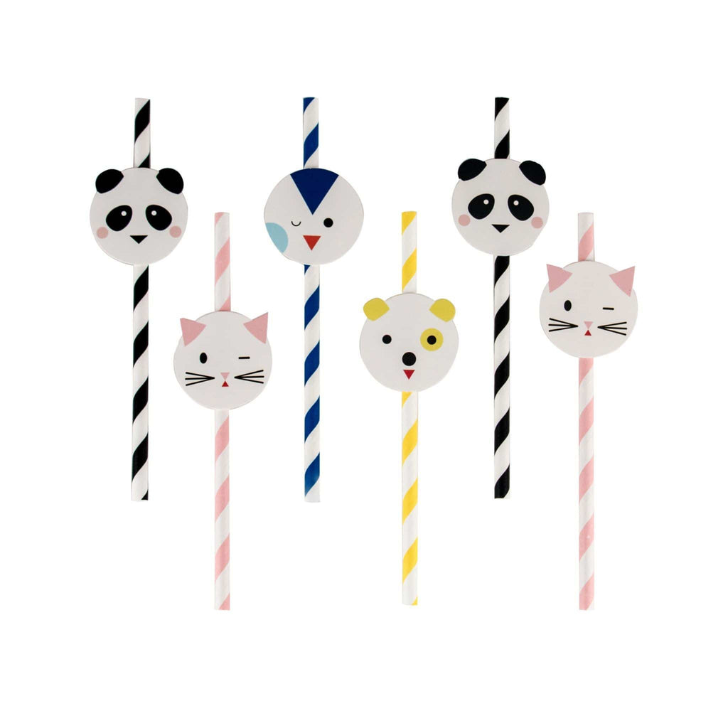 Popotes de Papel con Topper de Mini Animals - 12 pzas.